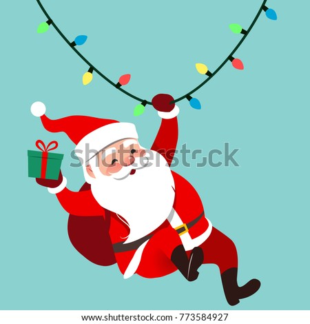 Vector cartoon illustration of cute traditional Santa Claus character swinging on a string of rope Chrismas lights, wrapped gift in hand, isolated on aqua blue. Christmas winter holiday design element
