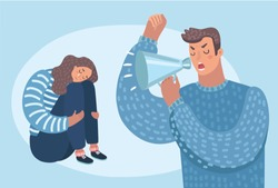 Vector cartoon illustration of despaired woman hug shes knee and cry when sitting on the floor angry man cry at her. Isolated characters. Family problems, pressure at work. Psychological abuse
