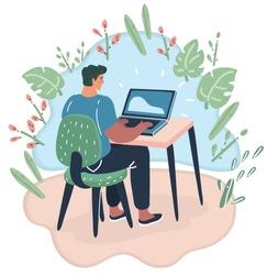 Vector cartoon illustration of E-earnings concept. Woman at the computer. Freelance work. Rear veiw.