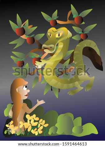 Vector cartoon illustration of Eve and Serpent
