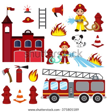 Vector cartoon illustration of firefighting characters, hose, fire station, fire engine, fire alarm, extinguisher, axe, and hydrant.