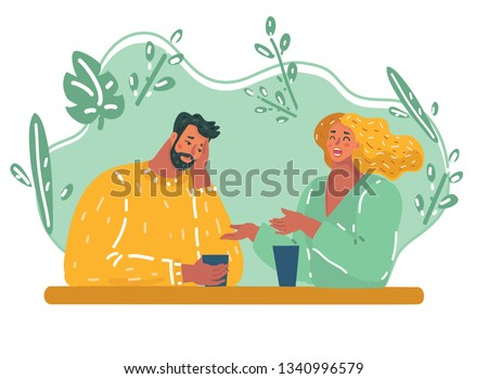 Vector cartoon illustration of first date spending time together ignoring real communication bored conversation. Disappoint couple in restaurant, bad relationship date at cafe.
