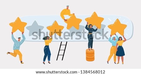 Vector cartoon illustration of Five stars rating concept. People are holding stars over the heads. Users and client users rate the product. Tiny character on white background.