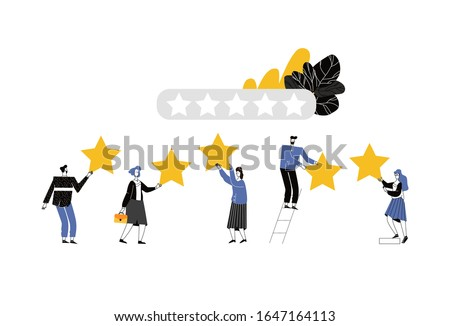 Vector cartoon illustration of Five stars satisfy rating concept. People are holding stars over the heads. Users and client users rate the product. Tiny character on white background.