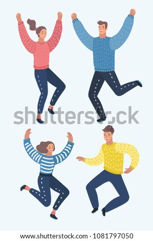 Vector cartoon illustration of Four happy people are jumping and rejoice, excitement,. Happy, cheerful cartoon people laughing. Character set of male and female characters.