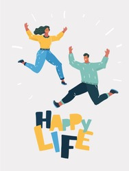 Vector cartoon illustration of Full length portrait of a cheery young couple jumping together on white background.