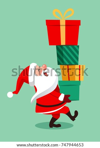 Vector cartoon illustration of funny Santa Claus character carrying a stack of big colorful gift boxes, isolated on aqua green background in contemporary flat style. Christmas theme design element
