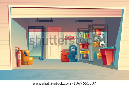 Vector cartoon illustration of garage interior, storage room with auto equipment, tires, jerrican, metal racks, tools, boxes, stuff. Private building for car with furniture and inventory inside