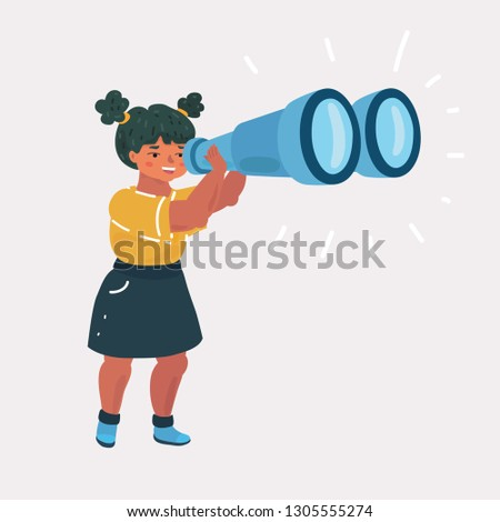 Vector cartoon illustration of Girl Explorer with Binoculars on whit background. Exploring and education concept.