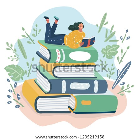 Vector cartoon illustration of Girl lies on pile of books with open book in her hands. Concept illustration of earning, distance studying and self education. Young woman student character