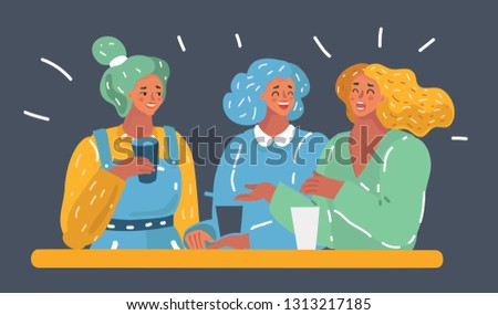 Vector cartoon illustration of group of teenagers having fun on the table - Multi-ethnic young adults partying at the party.