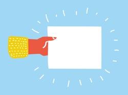 Vector cartoon illustration of Hand holding blank sheet of paper. Template blank sheet of paper.