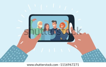 Vector cartoon illustration of Hands holding smartphone with young smiling men and women displaying on screen. Friends taking selfie, group of happy people photographing themselves.