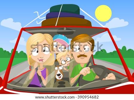 Vector cartoon illustration of happy family having a car trip