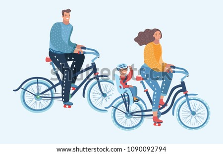Vector cartoon illustration of Happy family riding bikes isolated. Mother, Father, Son. Human characters on white background.