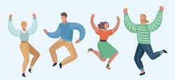 Vector cartoon illustration of Happy group of people jumping on a white background. The concept of friendship, healthy lifestyle, success. Different characters in modern style.