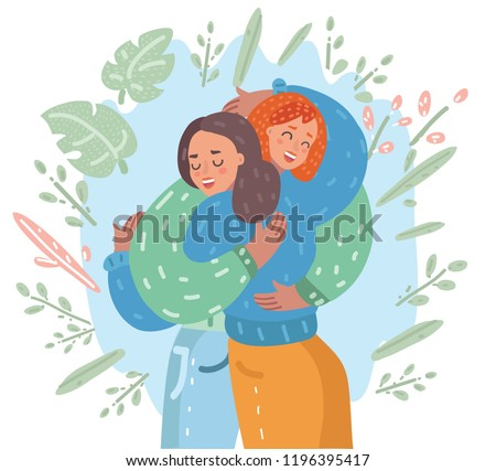 Vector cartoon illustration of Happy meeting of two Friends hugging. Two woman happy to each other. Love, relatives, friends.