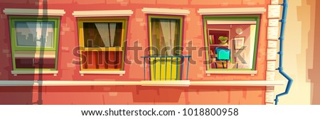 Vector cartoon illustration of house facade element, multistoried building, city apartments, outside wall with windows and balcony. Front view of brick dwelling with rain pipe and room inside #1018800958
