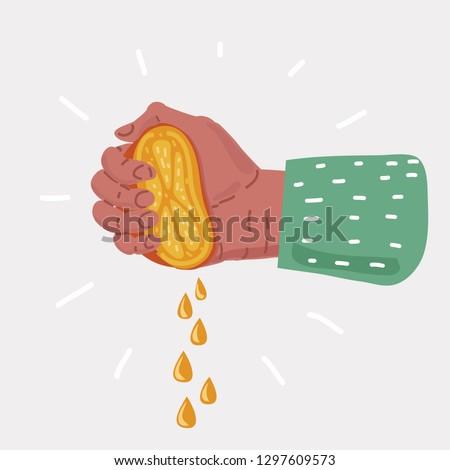 Vector cartoon illustration of Human Hand squeezes lemon on white background. Stockfoto ©