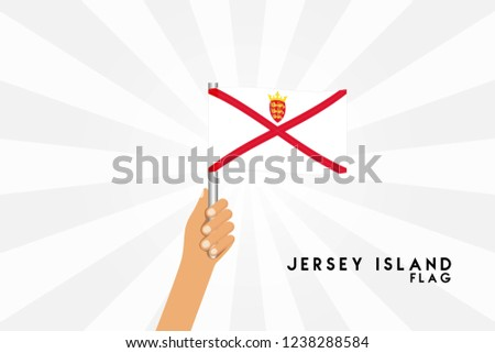 Vector cartoon illustration of human hands hold Jersey Channel İslands flag. Isolated object on white background.