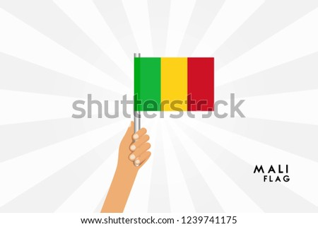 Vector cartoon illustration of human hands hold Mali flag. Isolated object on white background.