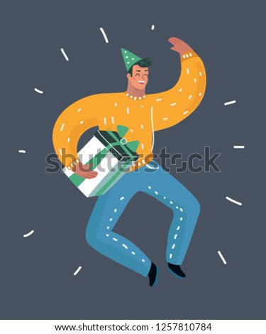 Vector cartoon illustration of image of guy smiling jumping holding a present. Human male charcter have fun on dark background.