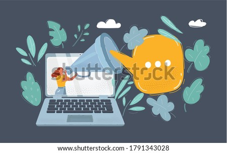 Vector cartoon illustration of Important Information concept. Woman cry in Megaphone. Loudspeaker on dark background.