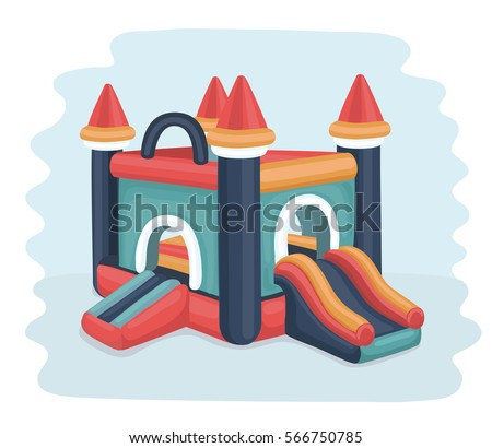 Vector cartoon illustration of in flatable castle trampoline in bright color.