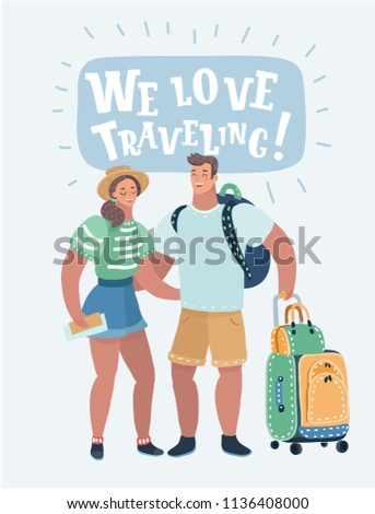 Vector cartoon illustration of inspired young loving couple is hugging each other. They are standing together with bags, tickets, passport and boarding pass.