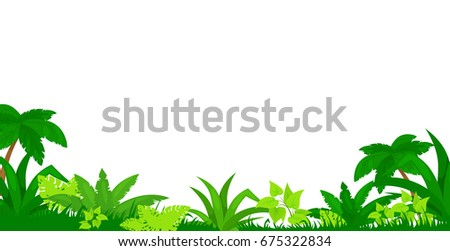 Vector cartoon illustration of jungle  background.