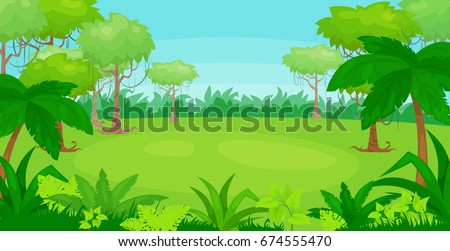 Vector cartoon illustration of jungle  background. vector landscape.
