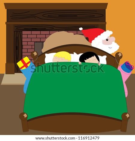 Vector cartoon illustration of kids sleeping while Santa visits