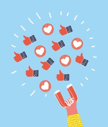 Vector cartoon illustration of like and thumbs up magnet attracting hearts in human hand. Concept - Social networking feedback concept.