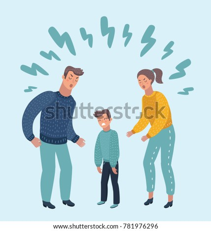 Vector cartoon illustration of little sad crying boy, cursing his beloved parents. Family quarrel. Angry parents. Wrong education, psychology