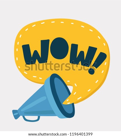 Vector cartoon illustration of loudspeaker with speech bubble with wow inside. Colorful compositor and megaphone in retro style.
