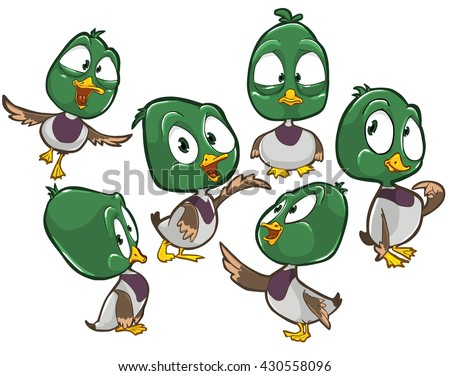 Vector cartoon illustration of male duck character with different poses and emotions.