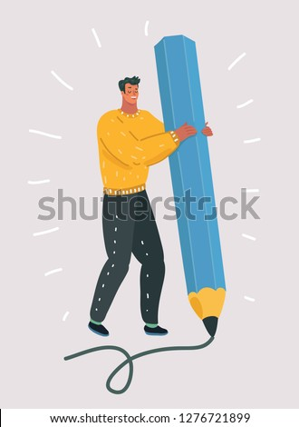 Vector cartoon illustration of Man holding a large blue pencil. Artist with writing instrument. Designer at work. Drawing and painting lesson. Signature. Human male character on white background.