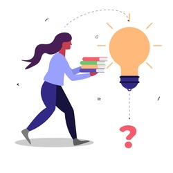 Vector cartoon illustration of man holding book and chasing big light bulb. Giant great idea. Education success concept, solution.