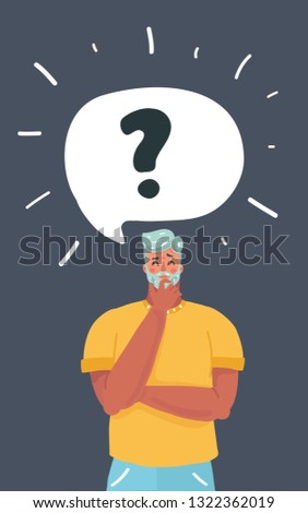 Vector cartoon illustration of Man thinks about something. Stress, insomnia, money problems. Bubble speech above.