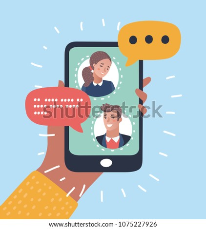 Vector cartoon illustration of Mobile messenger concept. People chatting on the smart phone's screen. Human hands hold smartphone.