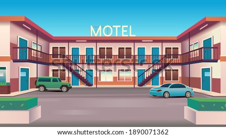 Vector cartoon illustration of  motel with cars  and coffee  bar by day. Сток-фото ©