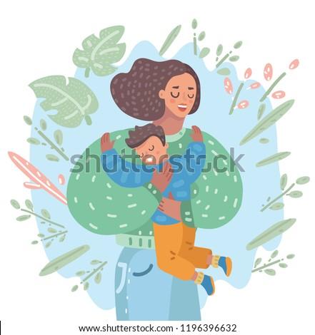Vector cartoon illustration of mother gently hug her son and tell him I love you vector. motherhood, parenthood, adoption. Happy kid.