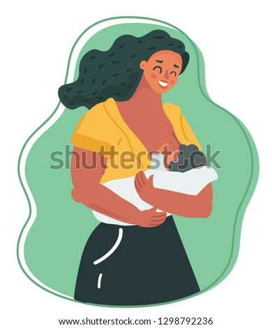 Vector cartoon illustration of Motherhood and lactation concept. Ideal nutrition for infants. Cute baby sucking breast milk. Human characters on green background.