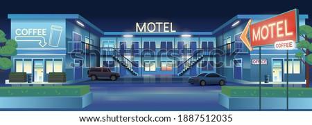 Vector cartoon illustration of night motel with cars  and coffee  bar. Сток-фото ©