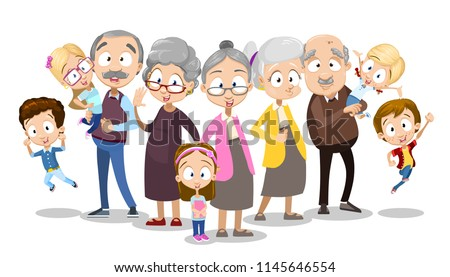 Vector cartoon illustration of older senior people together with grand children. Isolated on white background