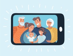 Vector cartoon illustration of Photo gallery on mobile phone, photo album on smartphone phototypography of family on cellphone, video call or chat. Three generation pic of relatives.