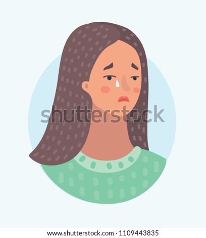 Vector cartoon illustration of Pitiful Crying Woman Female sad face sorrow expression. Depression girl