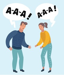 Vector cartoon illustration of portrait of an angry couple shouting each other against on isolated backround.