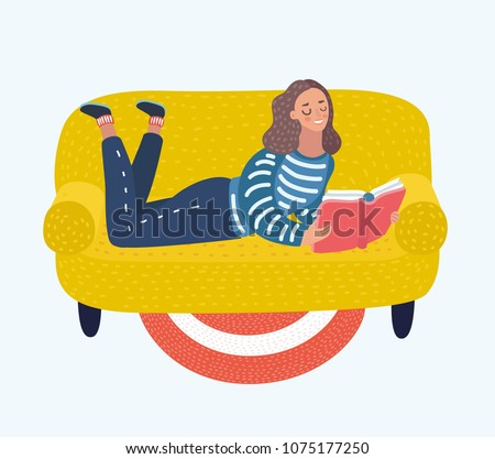 Vector cartoon illustration of pretty girl relaxing and reading book at home. Woman lies on her stomach with laptop. Relax or studying.
