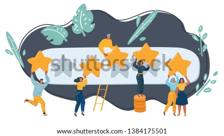 Vector cartoon illustration of 5 Rating Stars with Tiny People Holding big stars in hands. Rating concept. High score in users hands. Character on dark background.